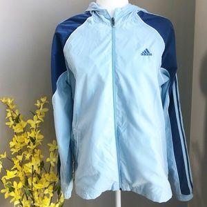 adidas blue-toned hooded windbreaker jacket Size L